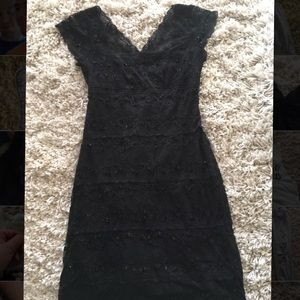 Black lace and beaded dress